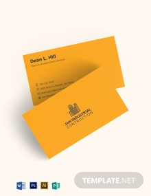 Industrial Construction Business Card Template