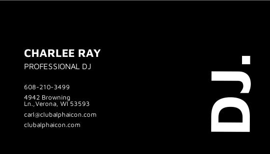 Modern Black and White DJ Business Card Template 1.jpe