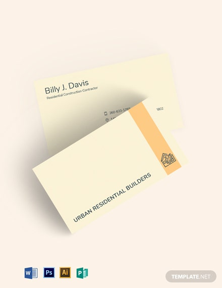 Residential Construction Business Card Template