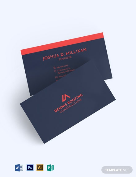 Roofing Construction Business Card Template