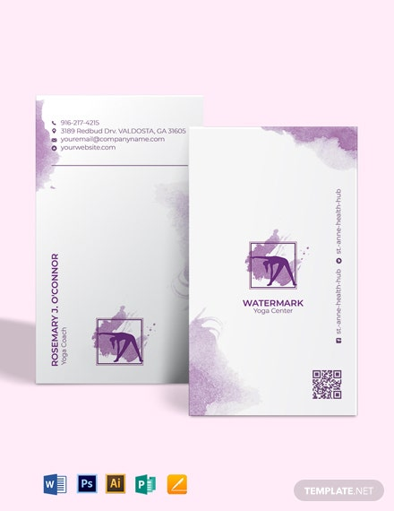 Watercolor Yoga Business Card Template