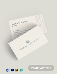 Wood Construction Business Card Template