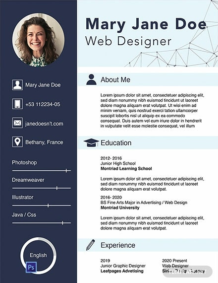 free web designer fresher cv template  download 1354
