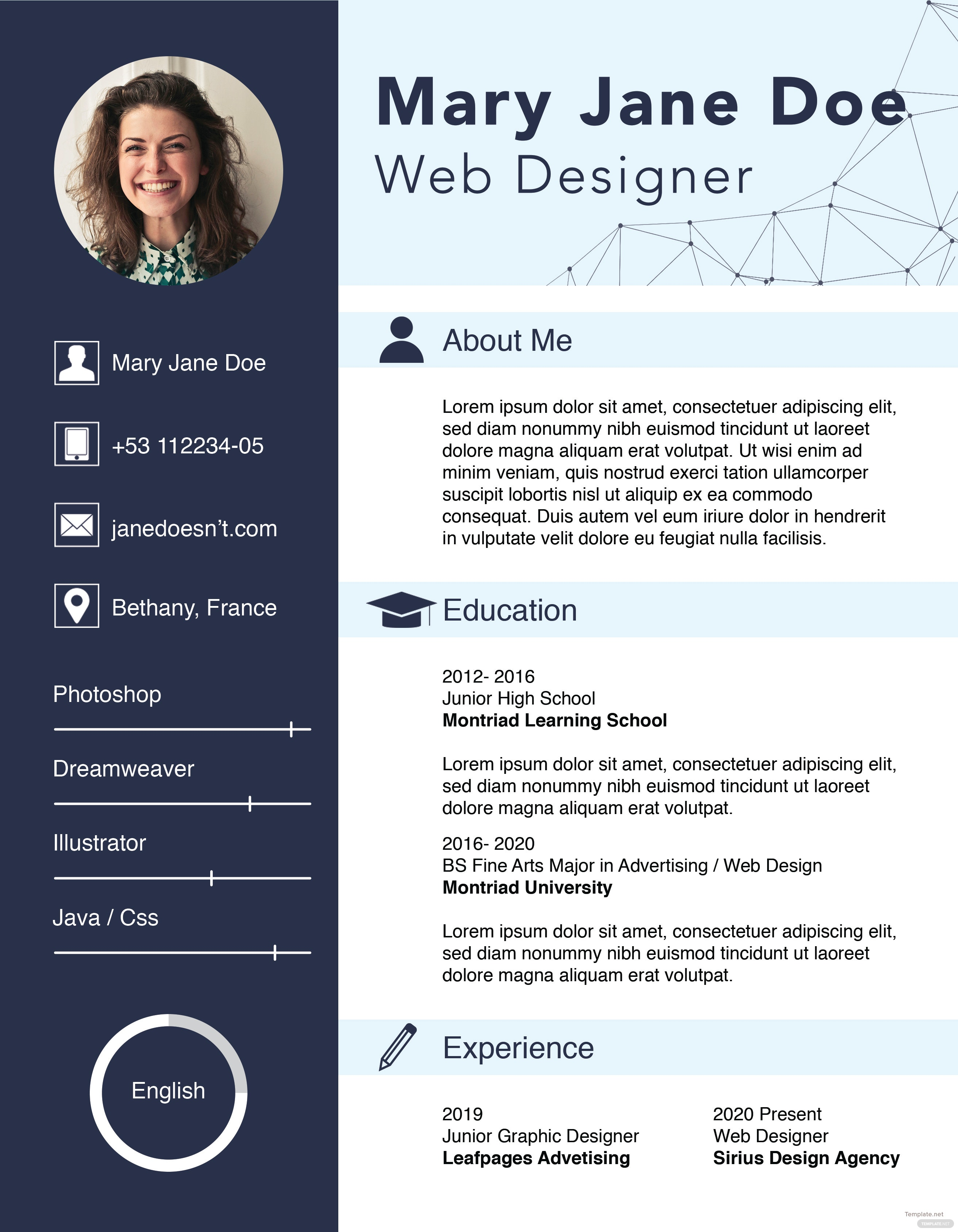 free web designer fresher cv template in adobe indesign