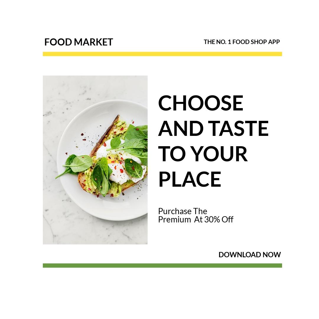 Free Food Market App Promotion Instagram Post Template