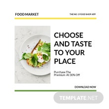Free Food Market App Promotion Instagram Post Template