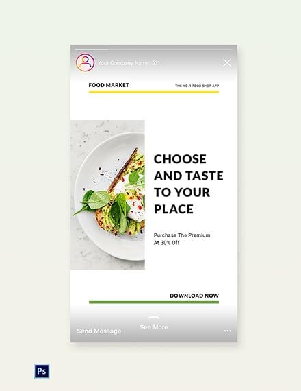 Free Food Market App Promotion Instagram Story Template