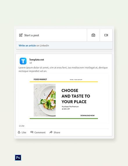 Free Food Market App Promotion Linkedin Post Template