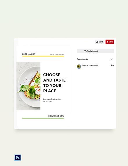 Free Food Market App Promotion Pinterest Pin Template
