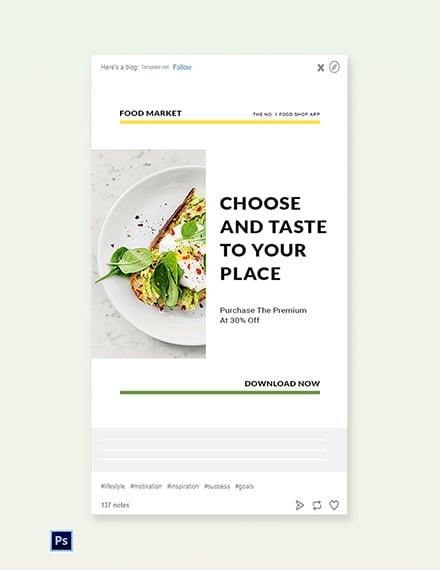Free Food Market App Promotion Tumblr Post Template