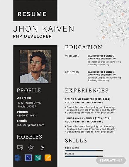 Free Php Developer Resume Template Word Doc Psd
