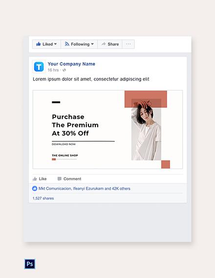 Free Minimalistic Fashion App Promotion Facebook Post Template