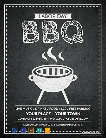 Free labor Day BBQ Flyer Template