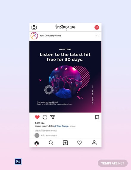 Free Modern Music App Promotion Instagram Post Template