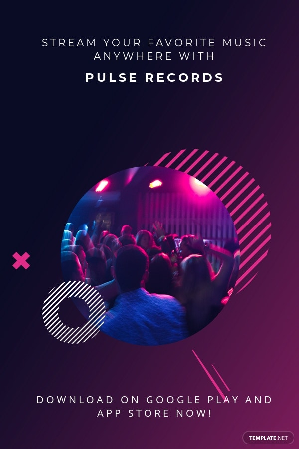 Free Modern Music App Promotion Pinterest Pin Template.jpe