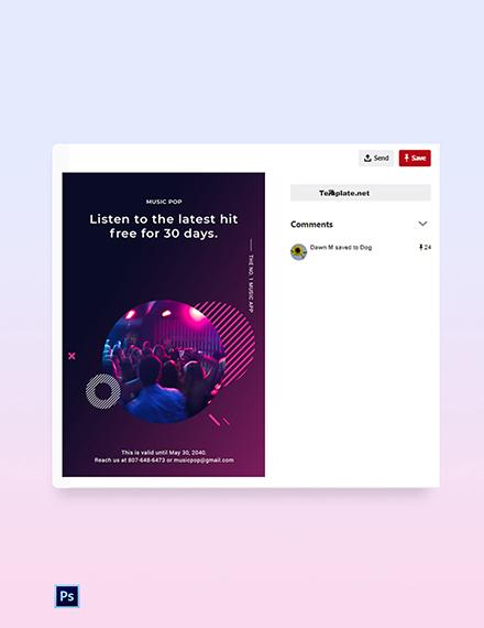 Free Modern Music App Promotion Pinterest Pin Template