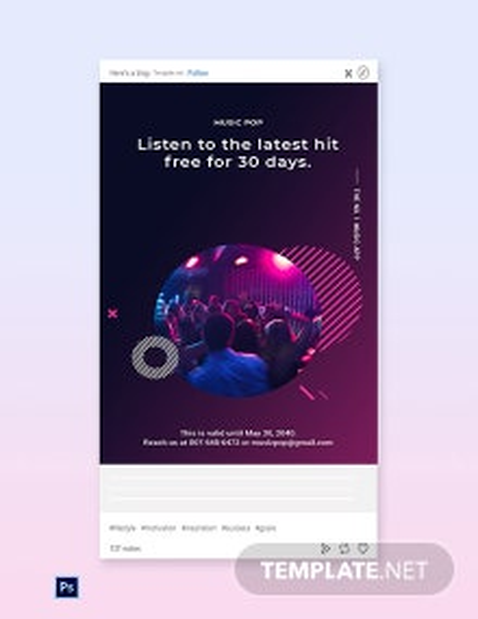 Free Modern Music App Promotion Tumblr Post Template