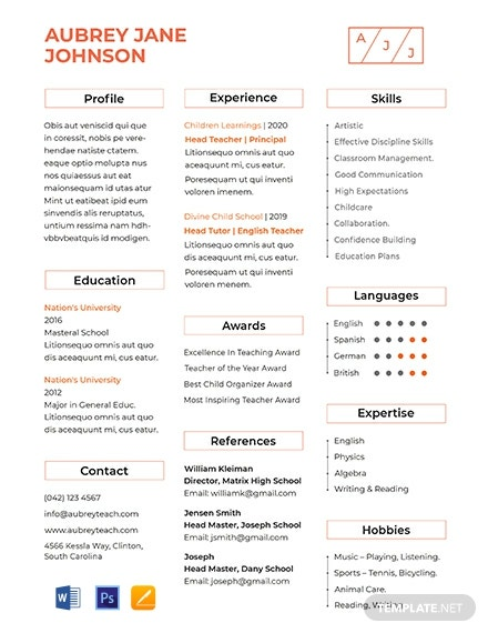 FREE Teacher Resume Format: Download 317+ Resume Templates in PSD ...