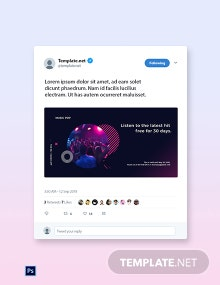 Free Modern Music App Promotion Twitter Post Template