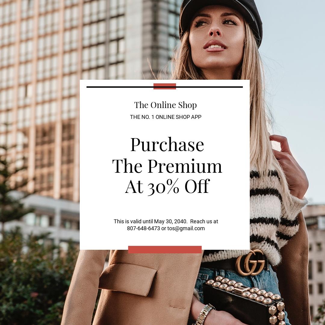 Free Online Shop App Promotion Instagram Post Template.jpe