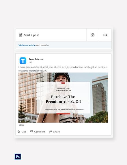 Free Online Shop App Promotion Linkedin Post Template