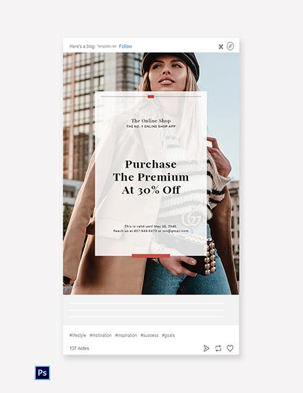 Free Online Shop App Promotion Tumblr Post Template