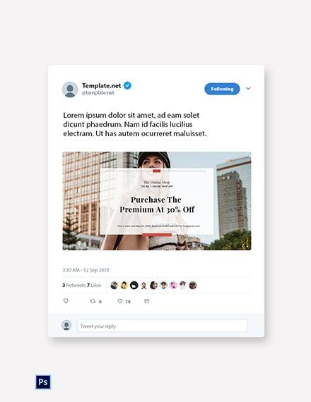 Free Online Shop App Promotion Twitter Post Template