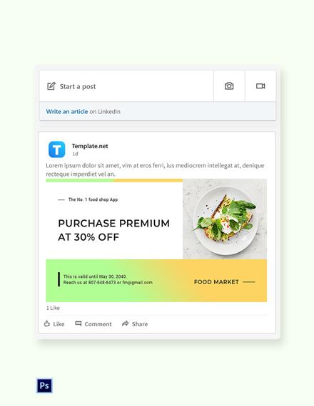 Free Restaurant App Promotion LinkedIn Blog Post Template