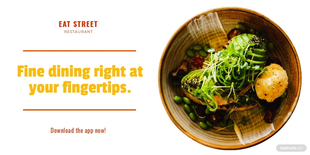 Restaurant App Promotion Twitter Post Template