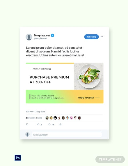 Free Restaurant App Promotion Twitter Post Template