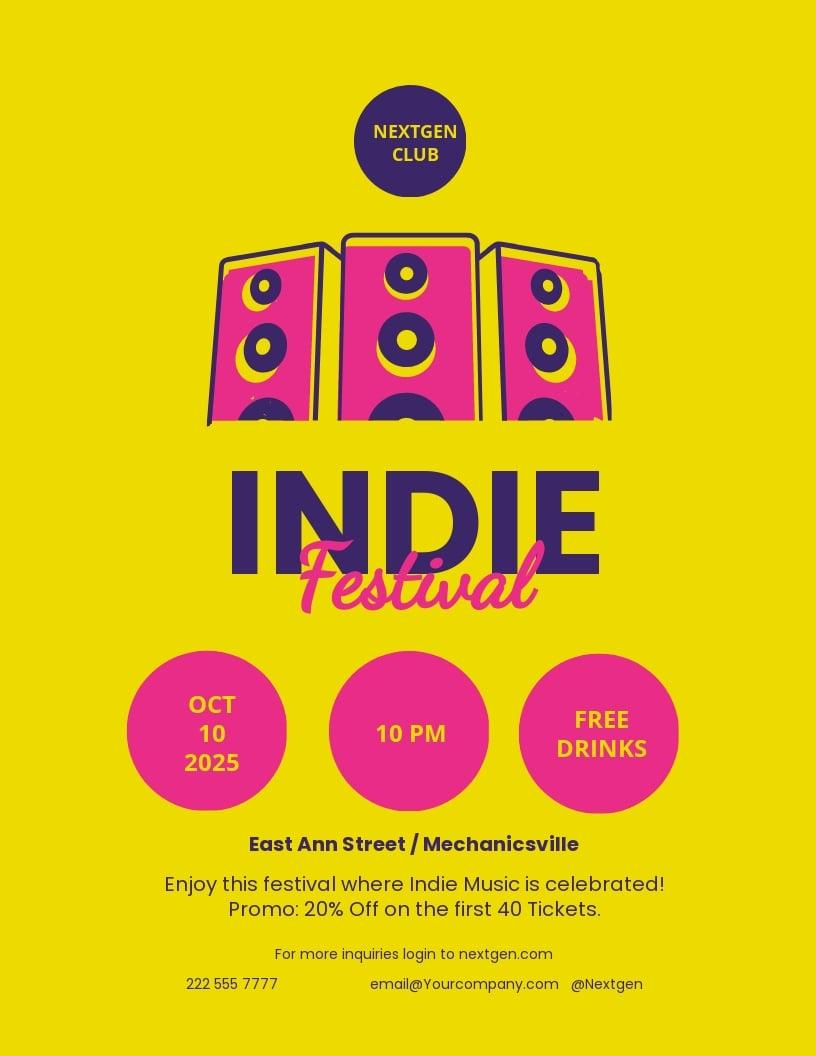 Indie Music Festival Flyer Template.jpe