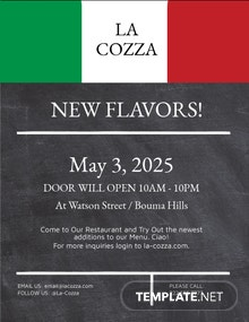 Italian Menu Restaurant Flyer Template