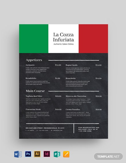 Italian Menu Restaurant Flyer Template