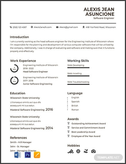 Free Software Quality Engineer Cv Template Word Psd