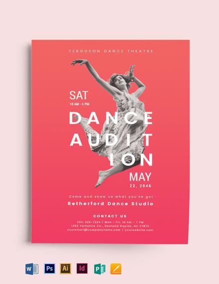 modern dance audition flyer template