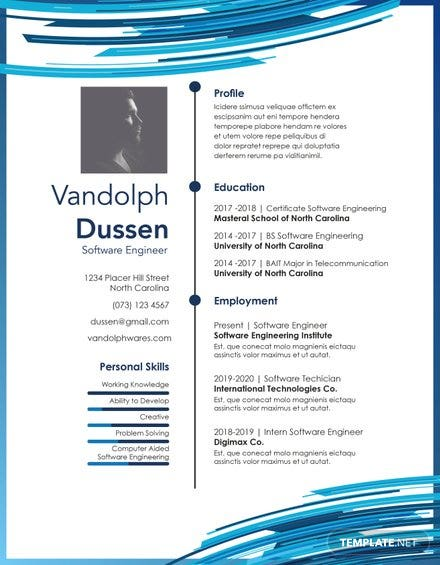 Free Resume and CV for Software Engineer Fresher Template in PSD, MS ...