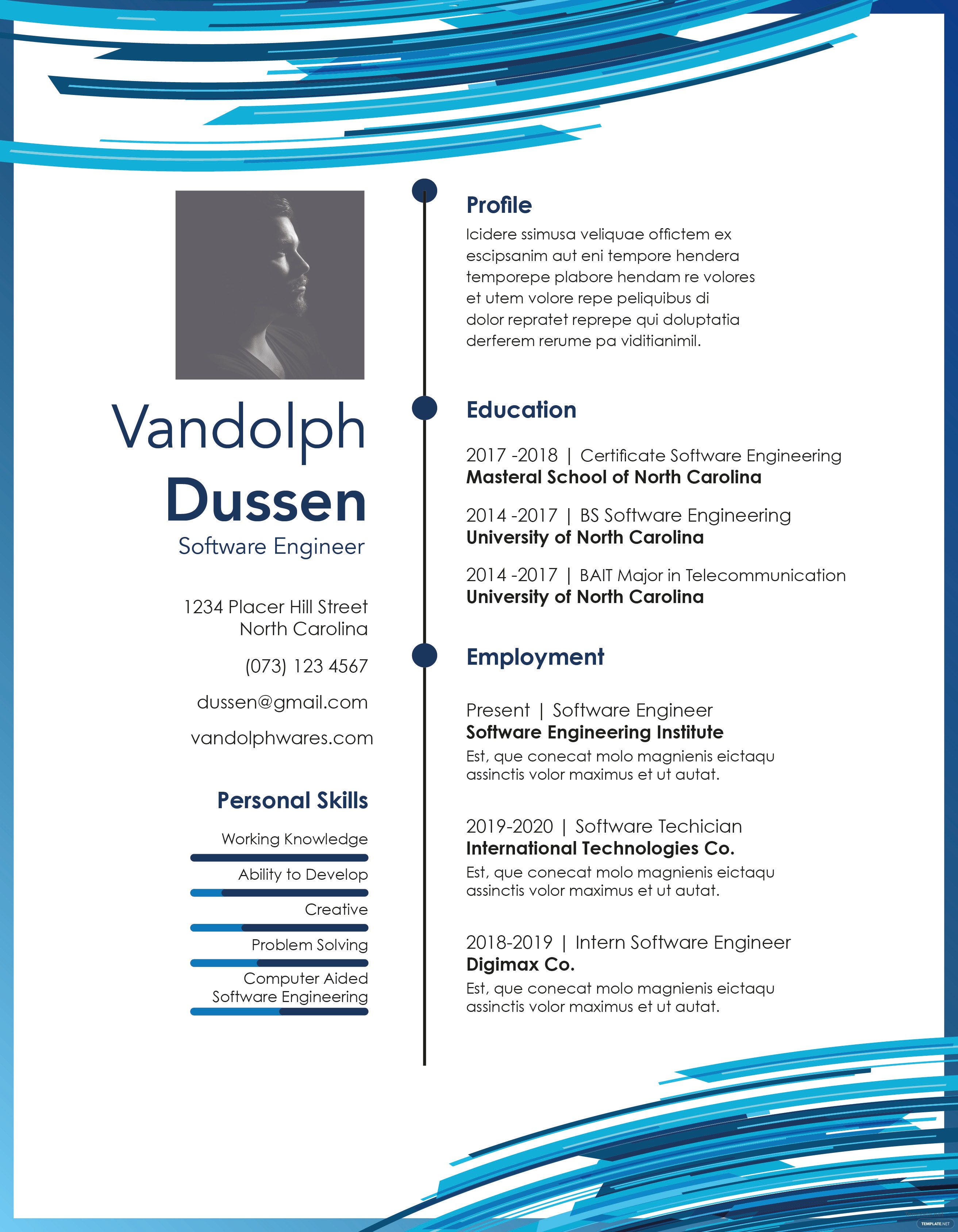 free resume for experienced software engineer template in