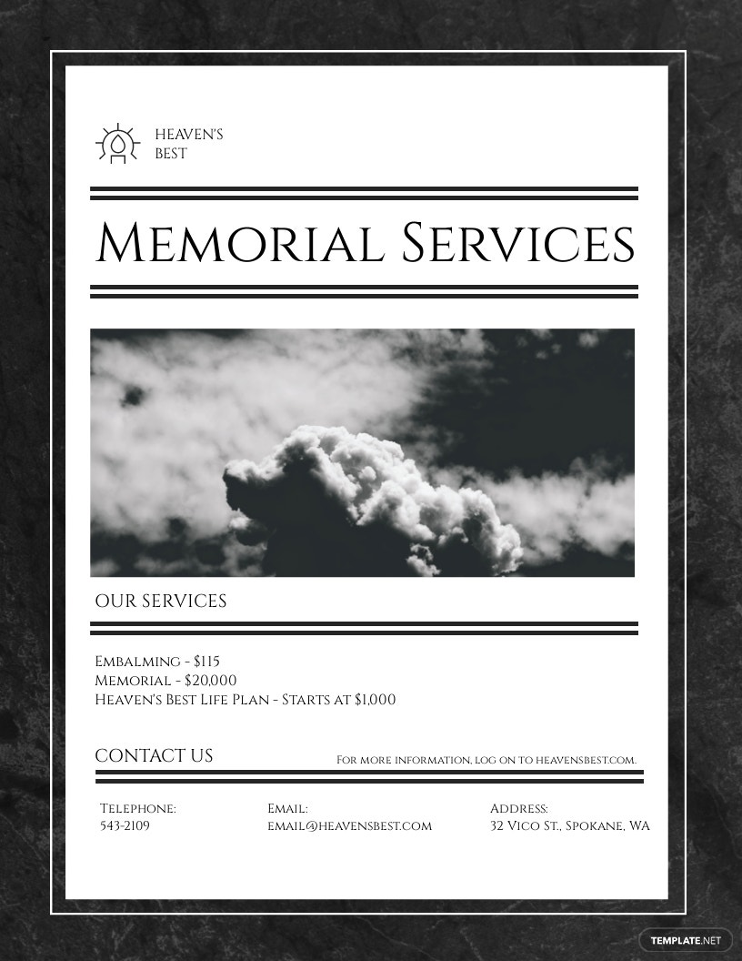 Memorial Flyer Template [Free JPG] - Illustrator, InDesign, Word, Apple Pages, PSD, Publisher