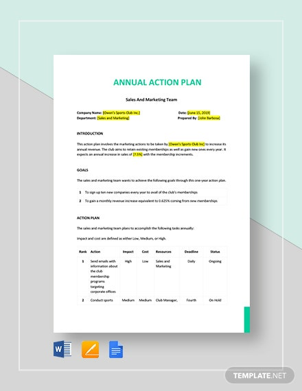 1-Year or Annual Action Plan Template