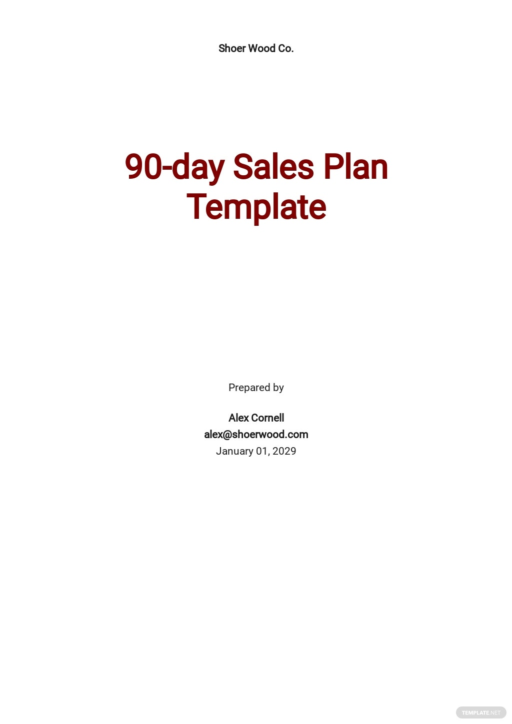 90-day Sales Plan Template