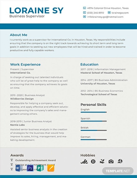 Free Supervisor Resume Template