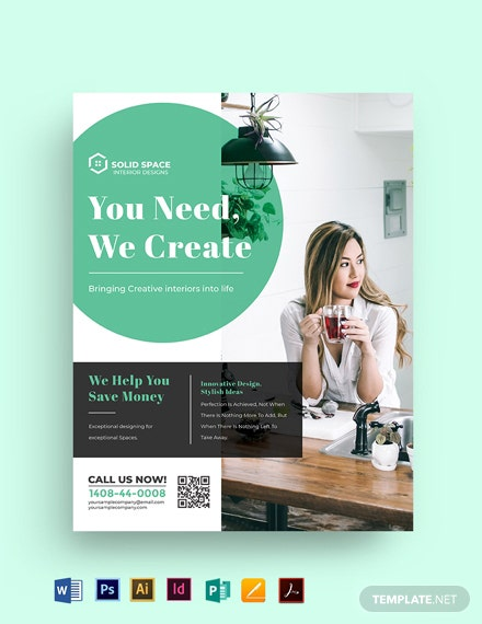 Simple Interior Designer Flyer Template