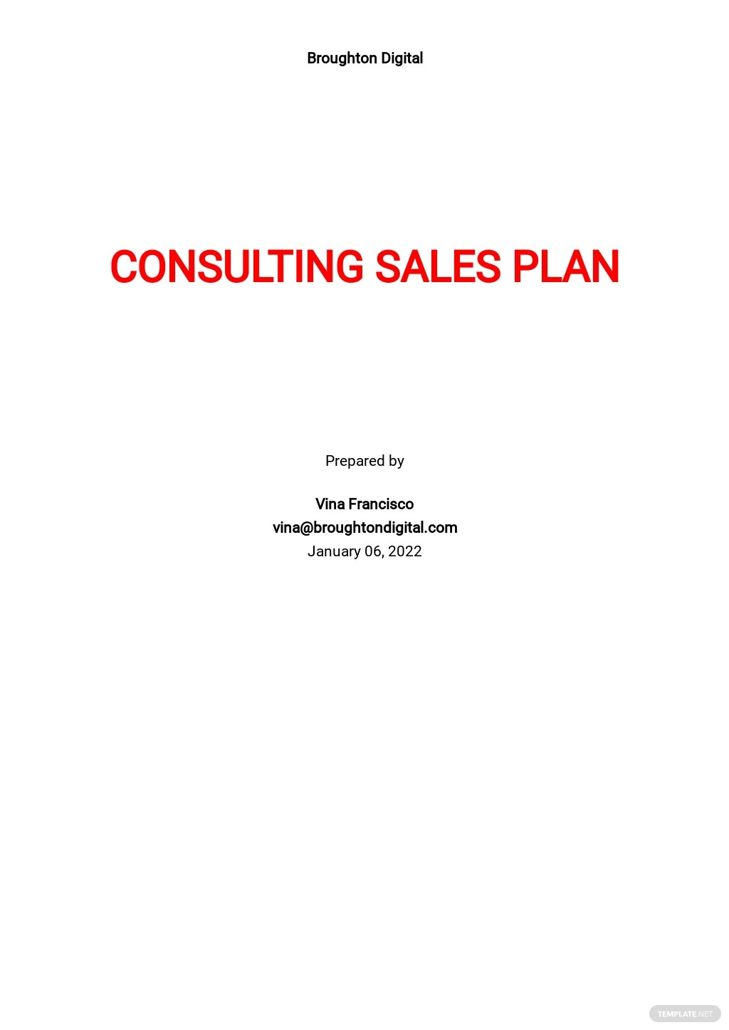 Consulting Sales Plan Template