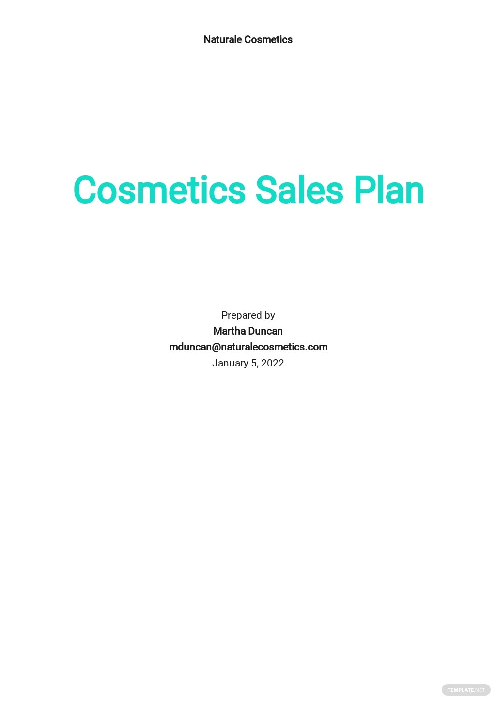 Cosmetics Sales Plan Template