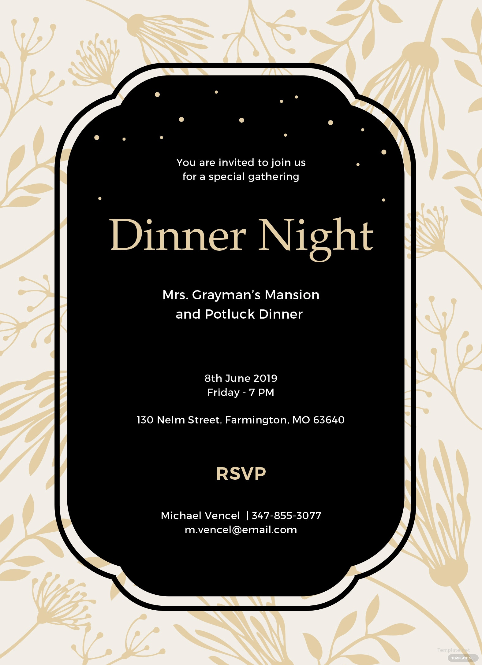 free dinner invitation template in ms word publisher illustrator apple pages. Black Bedroom Furniture Sets. Home Design Ideas