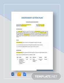 Disciplinary Action Plan Template