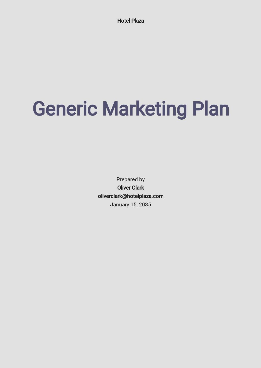 Generic Marketing Plan Template