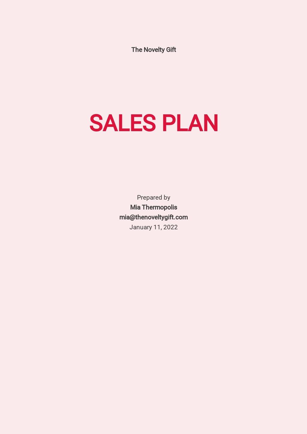 Gift Shop Sales Plan Template