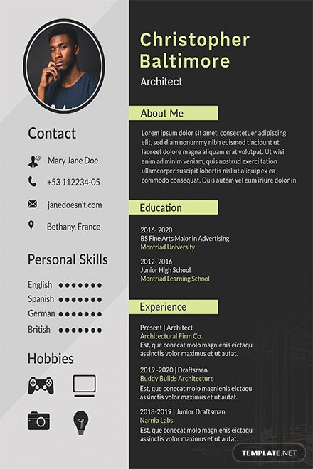free architect resume template in adobe photoshop microsoft word