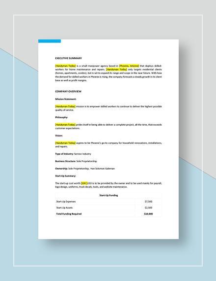 Handyman Marketing Plan Download